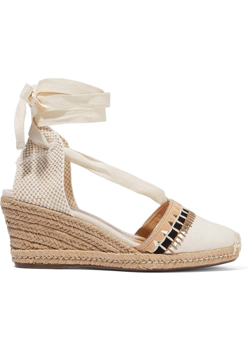 Schutz Woman Embellished Canvas Wedge Espadrilles Ecru