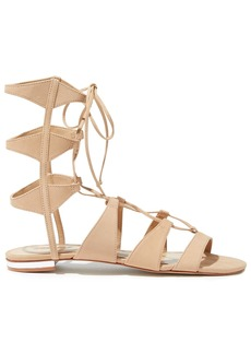 Schutz Woman Erlina Lace-up Nubuck Sandals Sand
