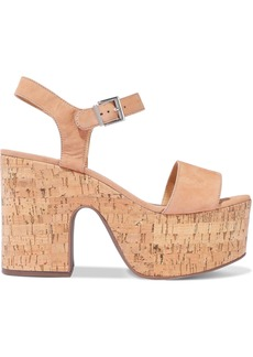 Schutz Woman Glorya Nubuck Platform Sandals Sand