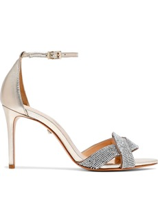 Schutz Woman Jolita Crystal-embellished Metallic Leather Sandals Gold