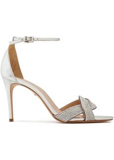 Schutz Woman Jolita Crystal-embellished Metallic Leather Sandals Silver
