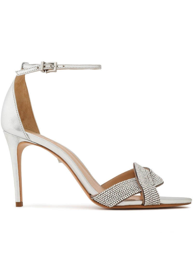 Schutz Woman Jolita Crystal-embellished Metallic Leather Sandals Silver