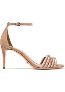Schutz Woman Joolian Knotted Suede Sandals Sand
