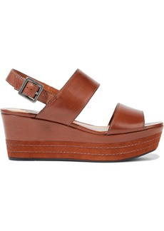 Schutz Woman Kaia Leather Platform Slingback Sandals Brown