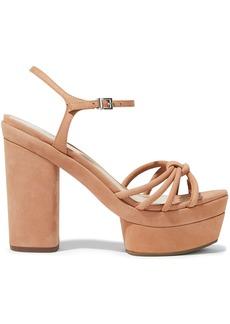 Schutz Woman Knotted Nubuck Platform Sandals Sand