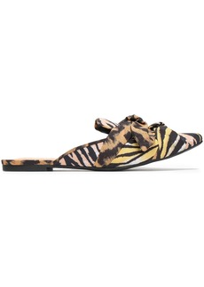 Schutz Woman Knotted Printed Crepe Slippers Animal Print