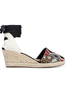 Schutz Woman Lace-up Embroidered Suede Wedge Espadrilles Black