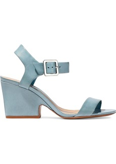 Schutz Woman Leather Sandals Sky Blue
