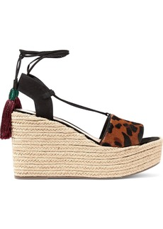 Schutz Woman Lila Leopard-print Calf Hair Wedge Espadrille Sandals Animal Print
