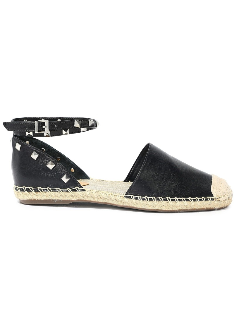 Schutz Woman Loralina Studded Leather Espadrilles Black