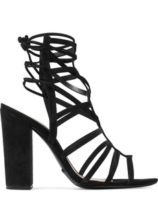 Schutz Woman Loriana Cutout Suede Sandals Black