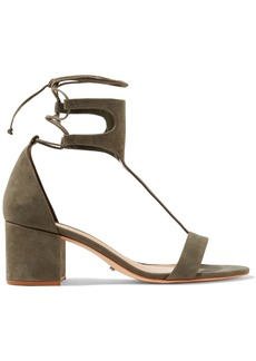 Schutz Woman Lutecia Lace-up Nubuck Sandals Army Green