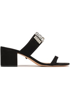 Schutz Woman Mirian Crystal-embellished Nubuck Sandals Black