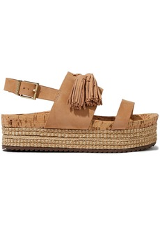 Schutz Woman Monica Tasseled Nubuck Platform Espadrille Sandals Sand