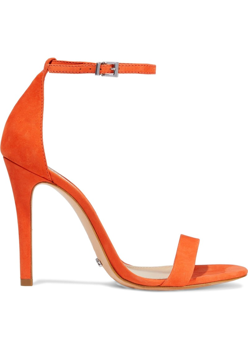 Schutz Woman Nubuck Sandals Bright Orange