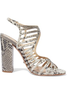 Schutz Woman Qamar Cutout Snake-effect Leather Sandals Animal Print