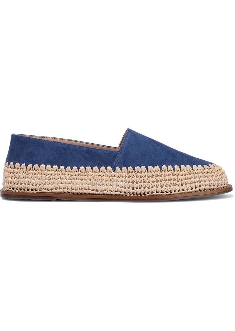 Schutz Woman Queenie Suede And Raffia Slippers Royal Blue