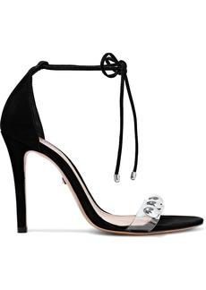 Schutz Woman Ramon Studded Pvc-trimmed Nubuck Sandals Black
