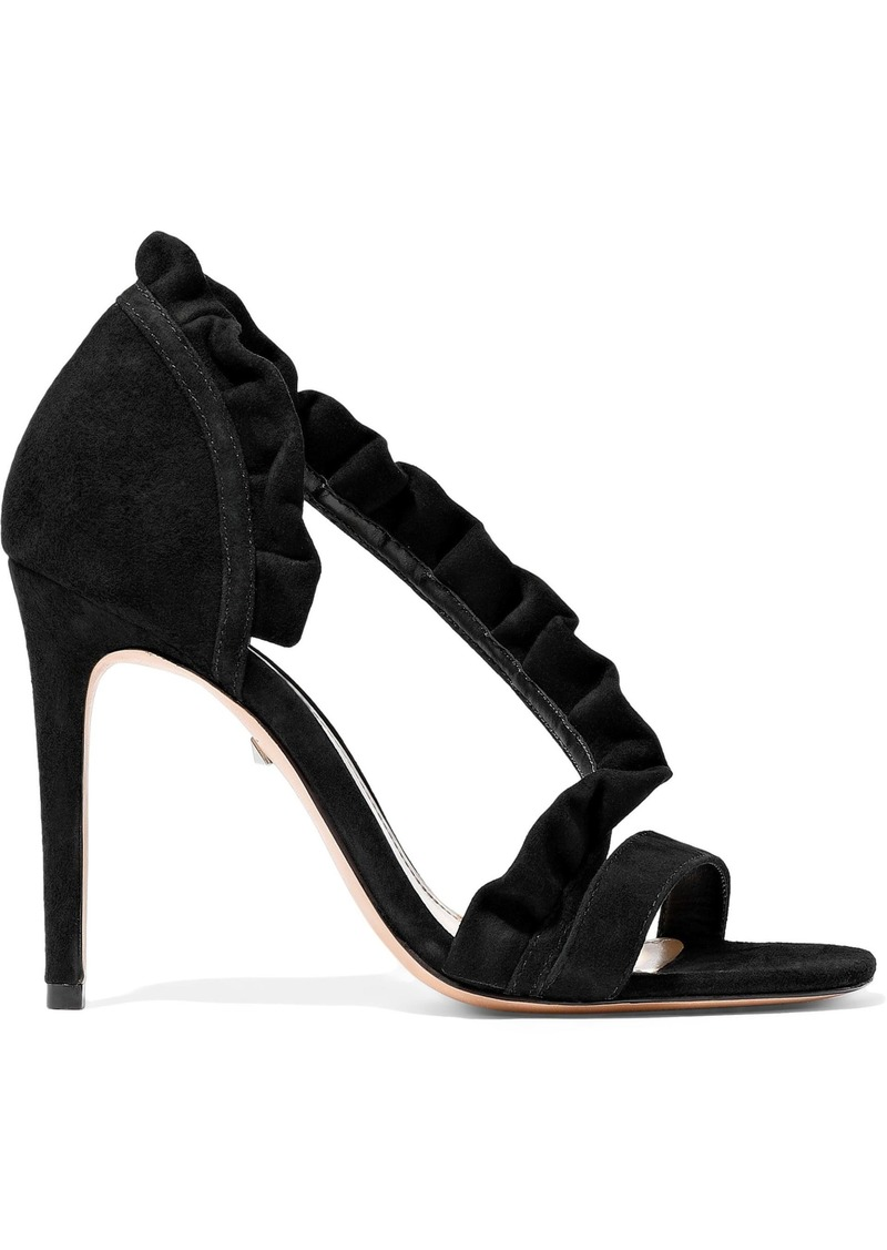 Schutz Woman Ruffle-trimmed Suede Sandals Black