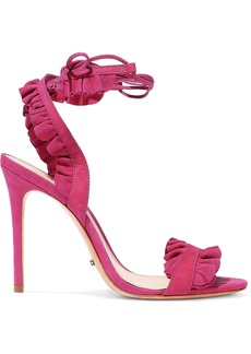 Schutz Woman Ruffled Suede And Nubuck Sandals Fuchsia