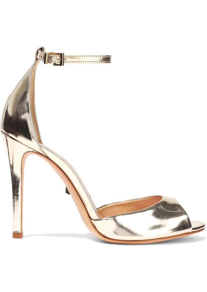 Schutz Woman Saasha Lee Mirrored-leather Sandals Gold