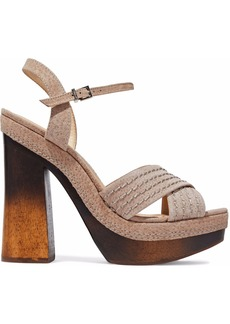 Schutz Woman Suede Sandals Mushroom