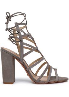 Schutz Woman Suede Sandals Taupe
