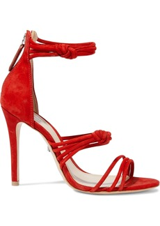 Schutz Woman Suely Knotted Nubuck Sandals Red