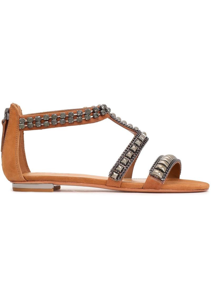 Schutz Woman Tarlim Crystal-embellished Studded Suede Sandals Tan