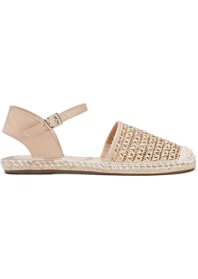 Schutz Woman Woven Leather Espadrilles Sand