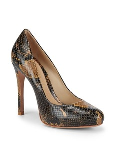 SCHUTZ Snake Print Leather Pumps