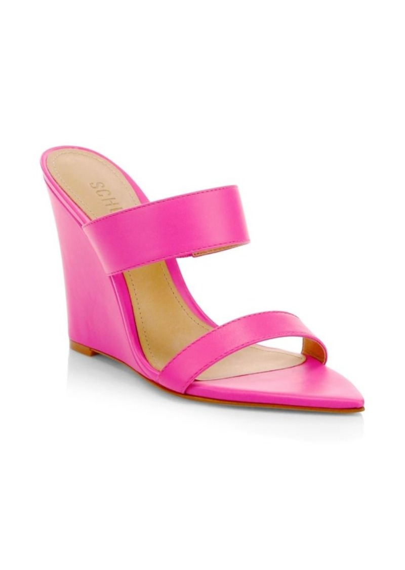 SCHUTZ Soraya Neon Leather Wedge Mules