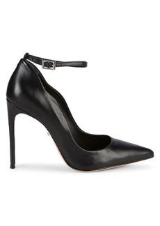SCHUTZ Thaynara Ankle Strap Leather Stiletto Pumps