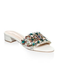SCHUTZ Victoria Embellished Leather Slides