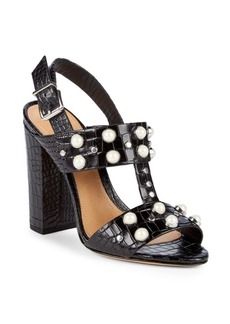 SCHUTZ Zarita Faux Pearl Leather Slingback Sandals