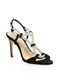SCHUTZ Zemna Embellished Suede Slingback Sandals