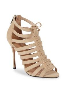SCHUTZ Zip-Up Leather Stiletto Sandals