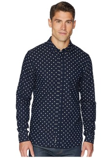 Scotch & Soda Ams Blauw Regular Fit All Over Print Shirt w/ Seasonal Artwork