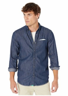 Scotch & Soda Ams Blauw Regular Fit Denim Shirt with Pocket Detail