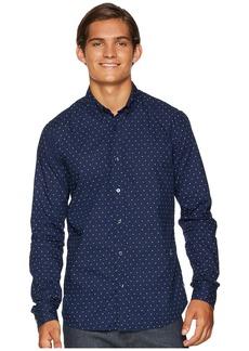 Scotch & Soda Ams Blauw Slim Fit Simple Lightweight Printed Shirt