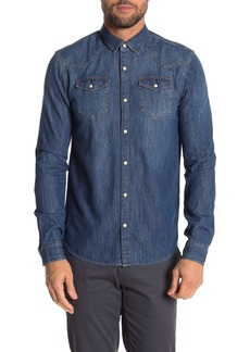 Scotch & Soda Blauw Easy Western Slim Fit Shirt