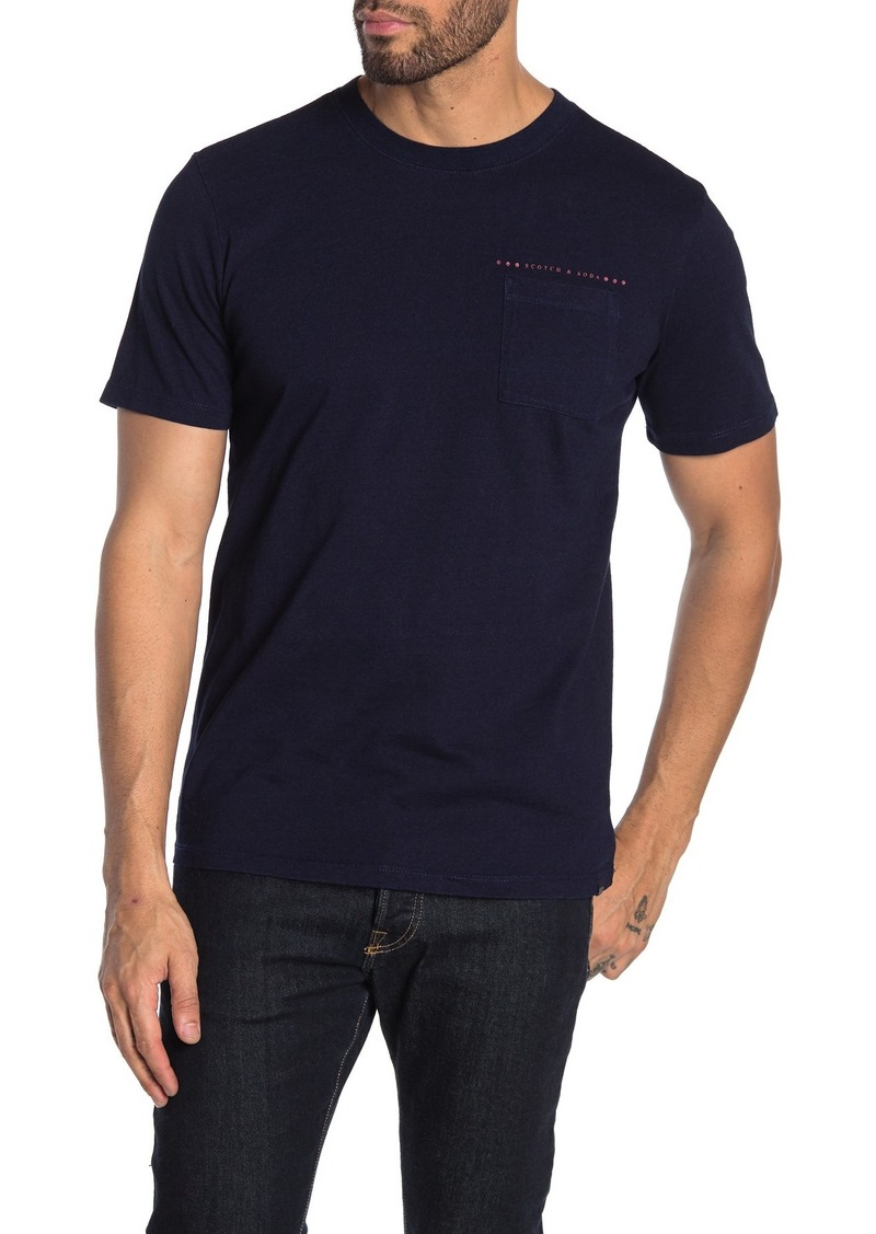 Scotch & Soda Blauw Indigo Crew Neck Logo Tee