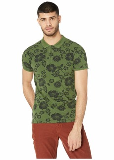 Scotch & Soda Classic Garment-Dyed Pique Polo with All Over Print