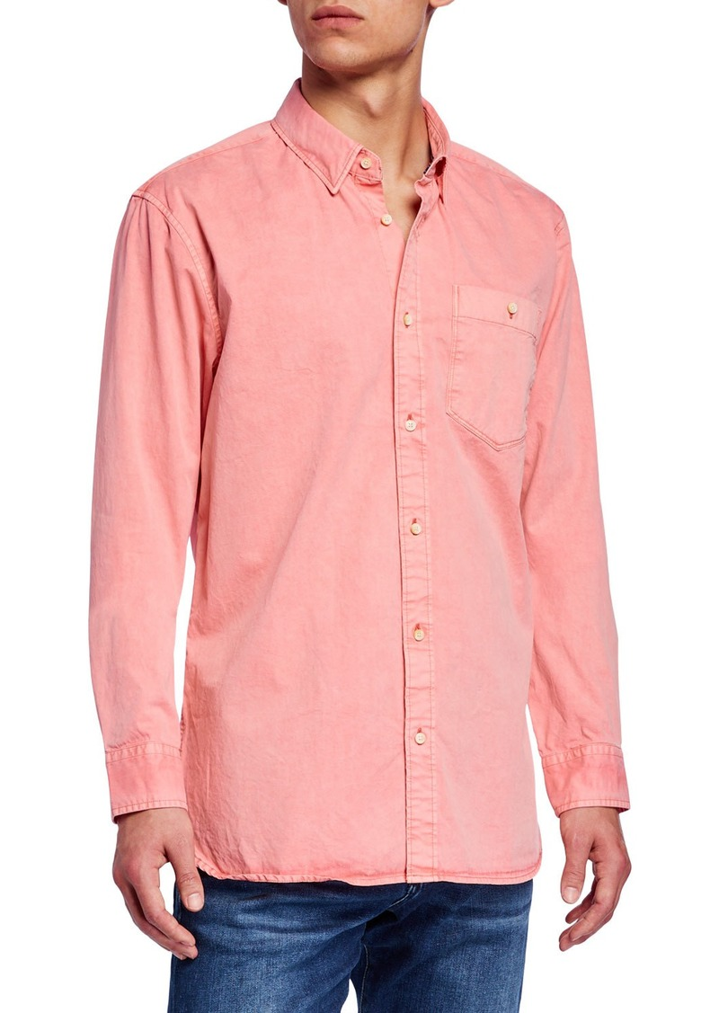 Scotch & Soda Men's Garment-Dyed Twill Sport Shirt