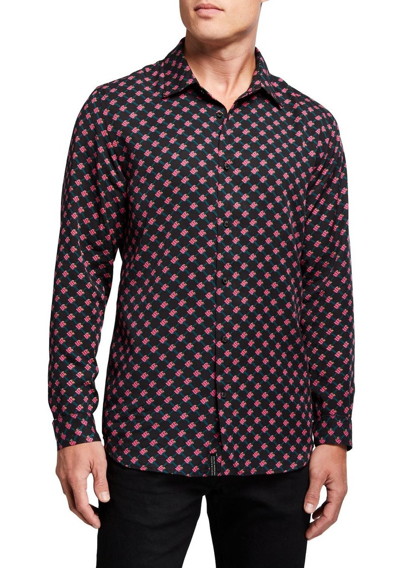 Scotch & Soda Men's Hawaii Fit Logo-Print Lyocell Sport Shirt
