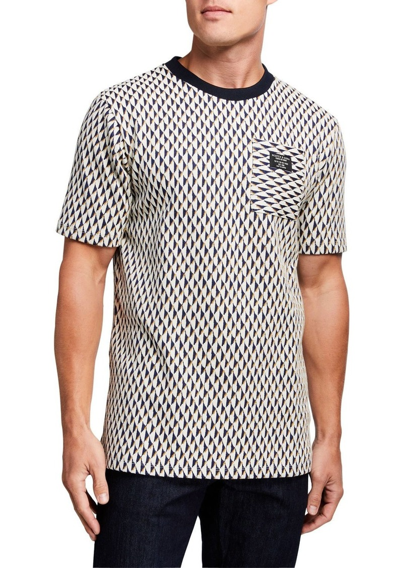Scotch & Soda Men's Jacquard Crewneck T-Shirt with Pocket