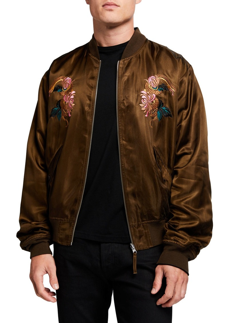 Scotch & Soda Men's Reversible Satin Embroidered Bomber Jacket
