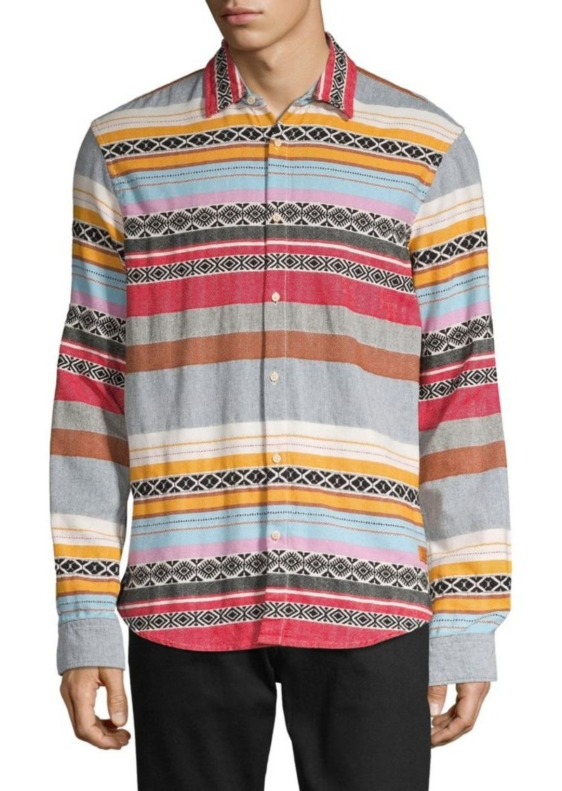 Scotch & Soda Mixed-Stripe Spread-Collar Shirt
