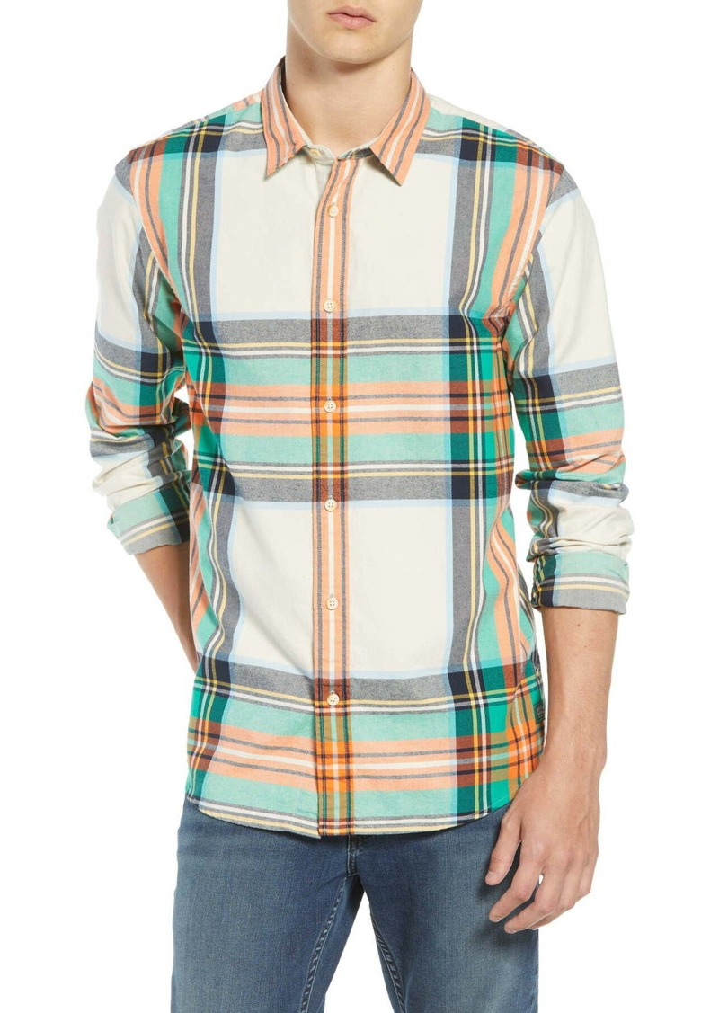 Scotch & Soda Plaid Flannel Slim Fit Shirt