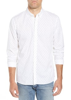 Scotch & Soda Amsterdams Blauw Simple Light Print Sport Shirt